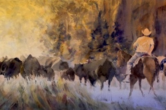 "10-179 Anne Watson Sorenson - Meridian, ID Category – Watermedia Out for a Drive 18"" x 38"" framed"